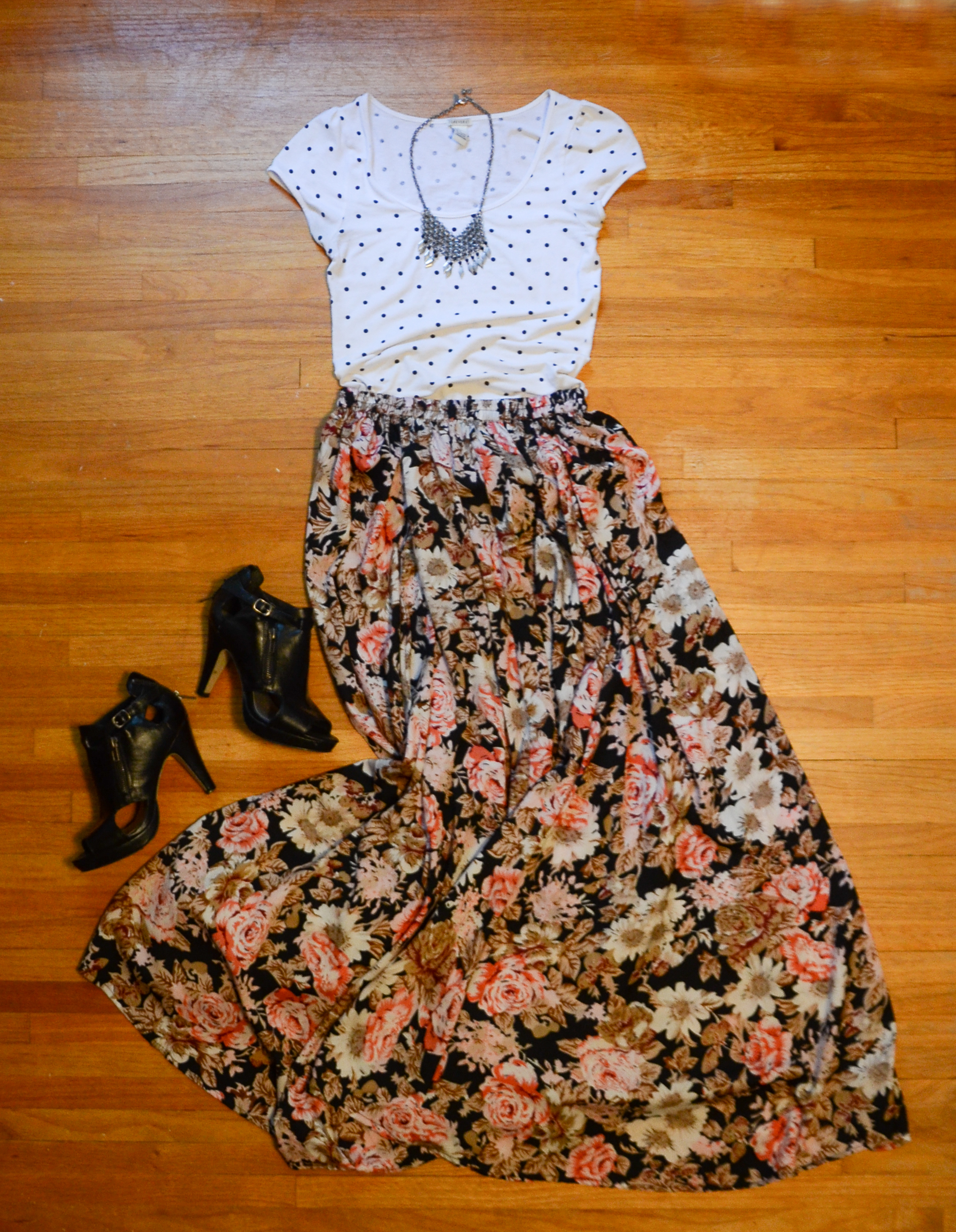 Polka dots and floral together are a little girly for me, but I just love how the focus is on the skirt, so you can essentially do whatever you want on top!