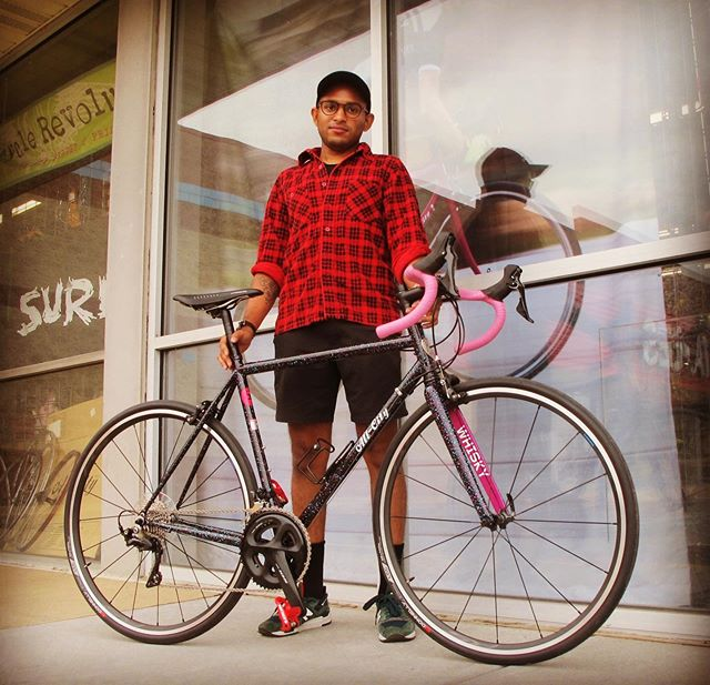 Screamin' deal!  Jithu just rolled away with a sweet @allcitycycles #allcitymrpink #10thanniversary.  Happy #newbikeday, Jithu! • • #allcitycycles #mrpink #fastisforever #roadbike #carbonfork #columbuszona #steelisreal #fiziksaddle #bikephilly • 📸 = @philly_sassquatch