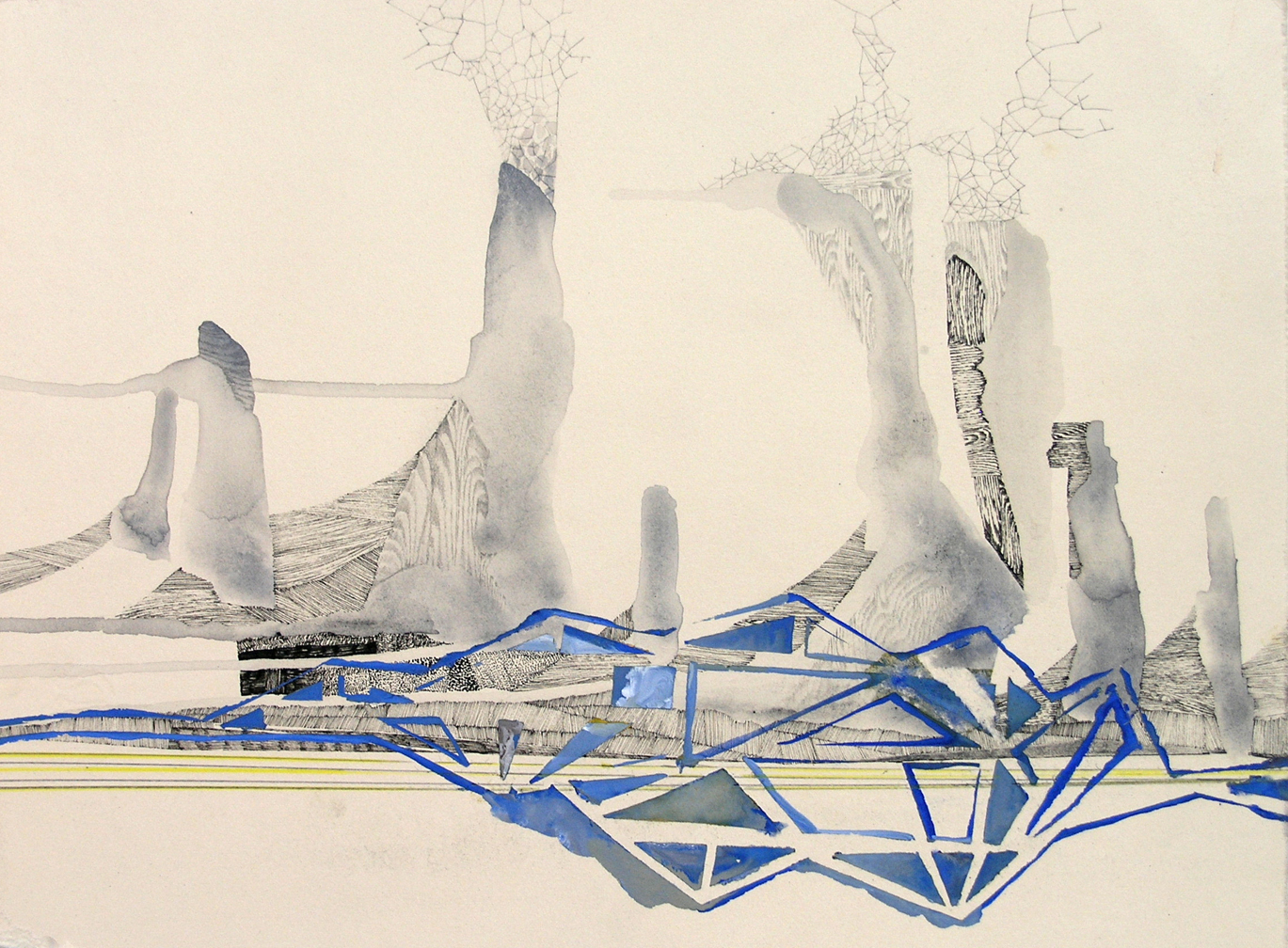 """Hughen/Starkweather,  Requiem 7  (from the Bay Bridge Project), Gouache, pencil, and ink on paper, 8.25""""h x 10.75""""w, 2013"""