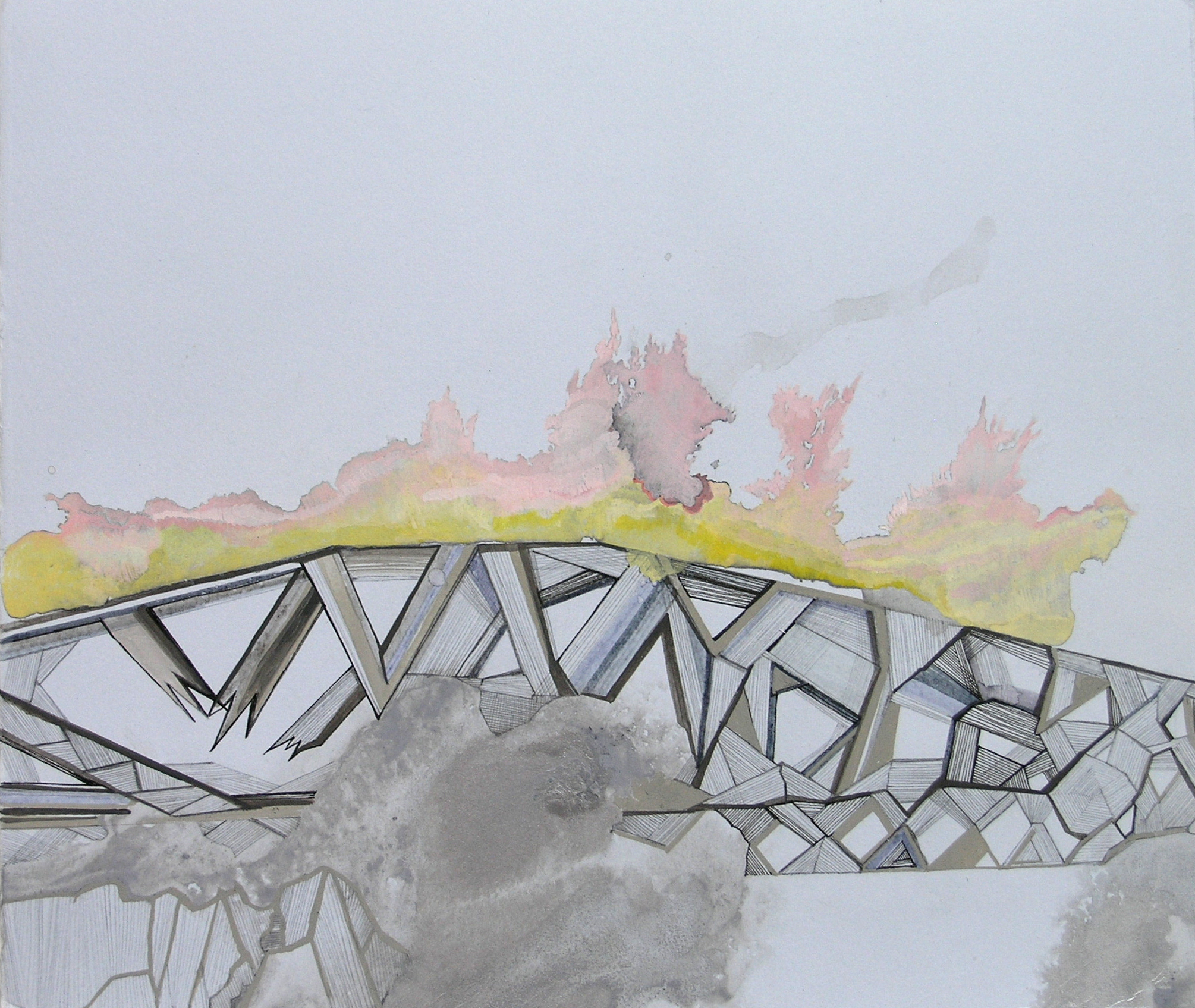 """Hughen/Starkweather,  Requiem 9  (from the Bay Bridge Project), Gouache, pencil, and ink on paper, 7.75""""h x 9""""w, 2013"""