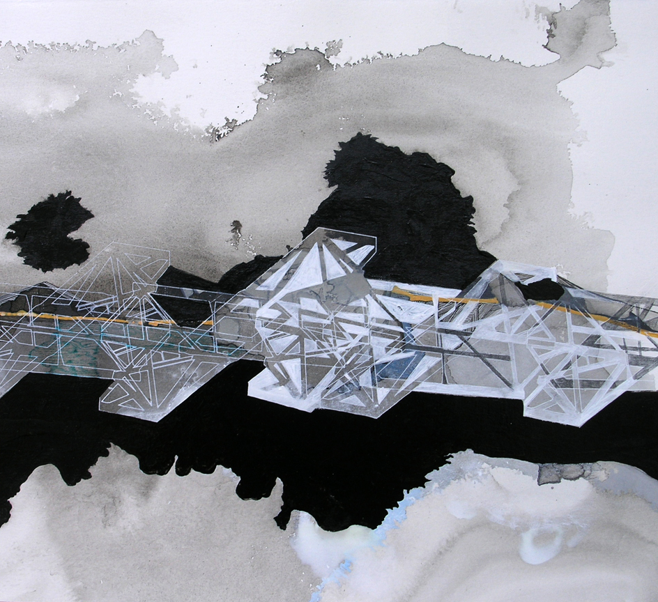 """Hughen/Starkweather,  Requiem 11  (from the Bay Bridge Project), Gouache, pencil, and ink on paper, 9.25""""h x 10.25""""w, 2013"""