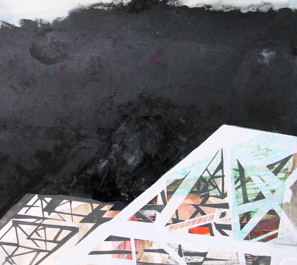 """Hughen/Starkweather,  Requiem 13  (from the Bay Bridge Project), Gouache, pencil, and ink on paper, 10 x 11""""w, 2013"""