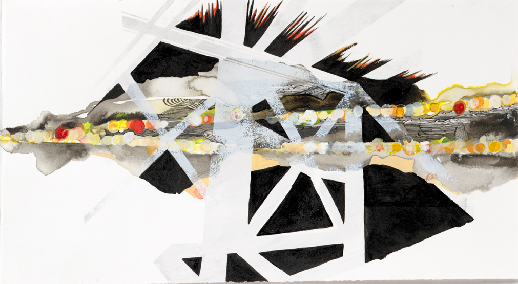 """Hughen/Starkweather,  Requiem 17  (from the Bay Bridge Project), Gouache, pencil, and ink on paper, 7 x 13""""w, 2013"""