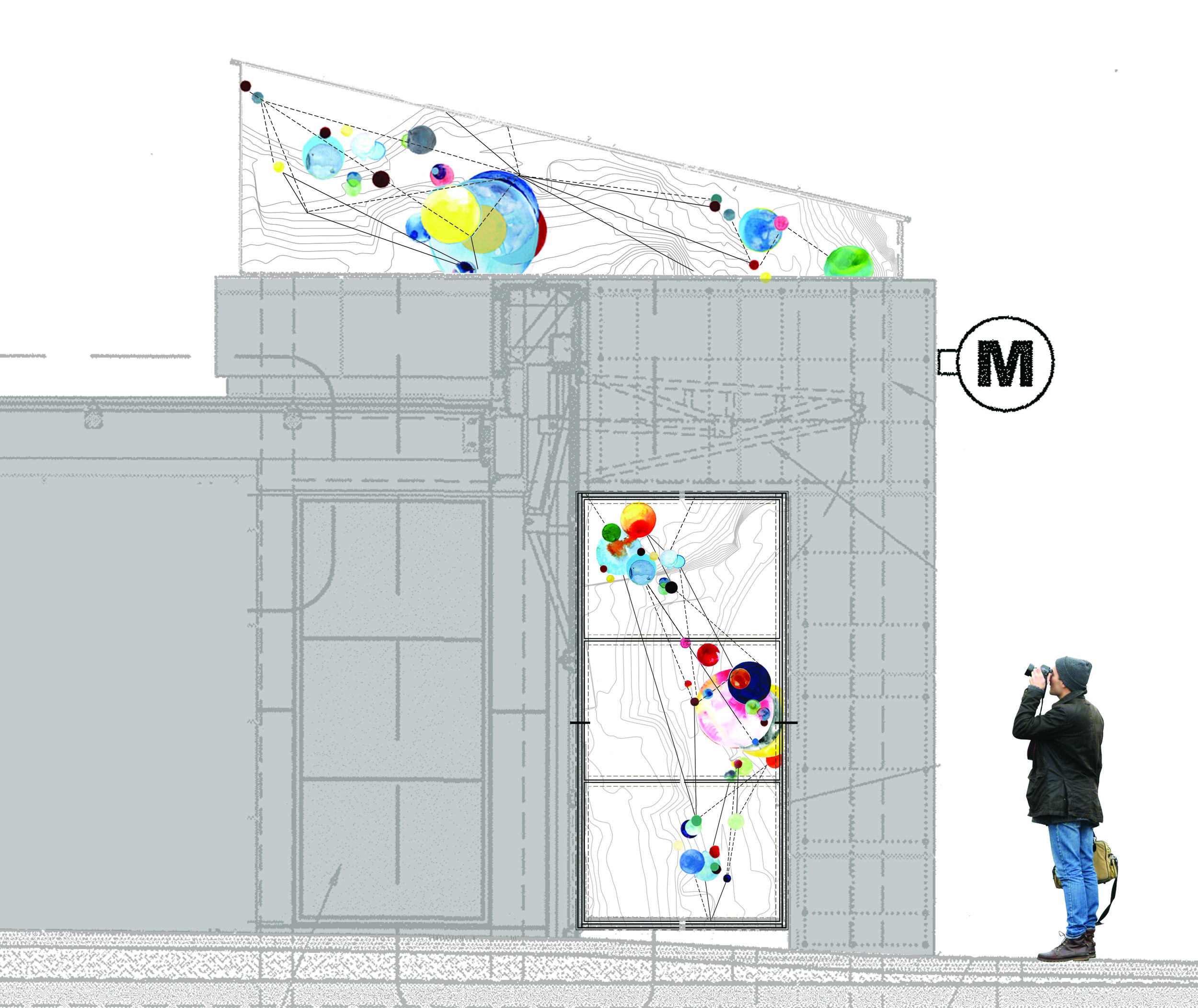 Architectural rendering of the Geary Street entrance to the station, showing Hughen/Starkweather glass panels on the facade and elevator light wells.