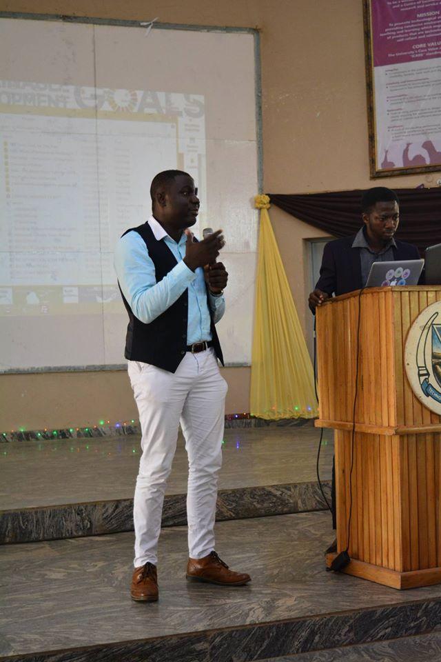 Toluwanimi Kolawole during his Presentation