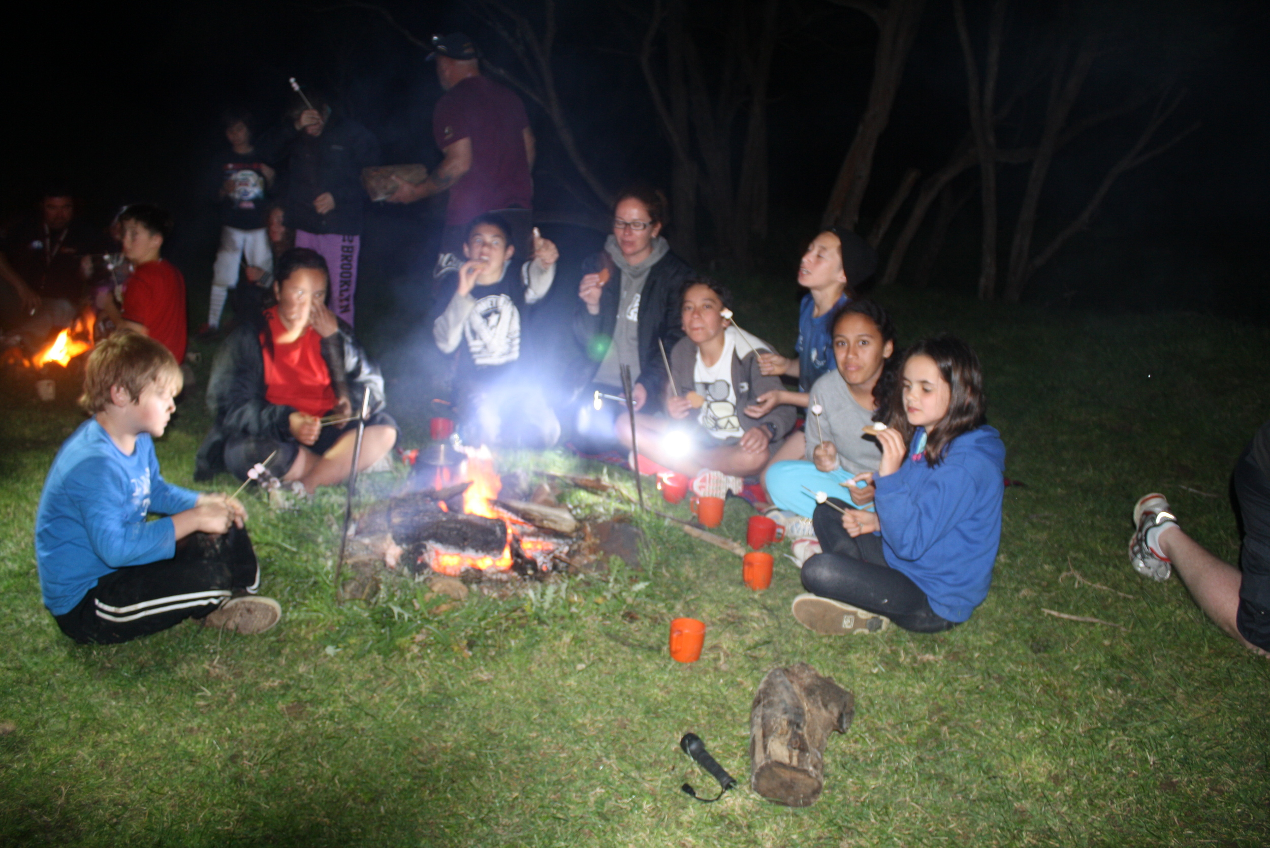 Camp fires (with permit) are a camp classic activity. Please supply your own wood. 2 port-a-loos are available for camping and abseiling.