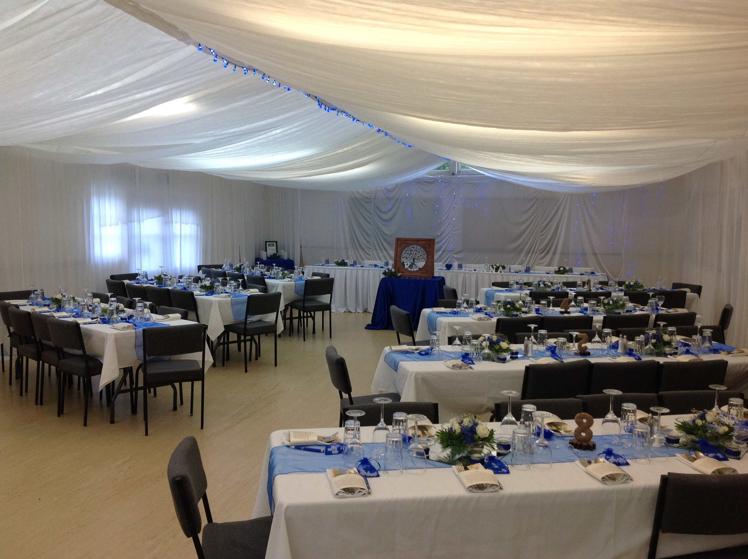 Available for Hire from the Community Hall   150 Chairs with covers; 20 Trestle tables; White or black tablecloths with napkins to match; Bain-maries; Sound system.  Contact: Tania - 092329833, Maggie - 09 2329410, Lorraine - 09 2329923  Overall Camp cleaning services - $300 - 400. Phone Fiona Cruzac 027 493 6882   Hangings, lights, glasses and numerous other decorations can be hired from Christine Ramsey, 09 232 9619