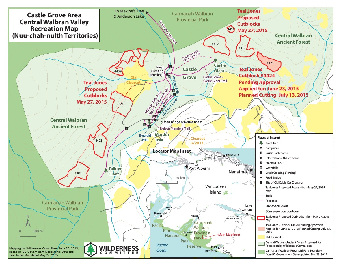 Map of Teal-Jones planned cutblocks and new roads in the Central Walbran Ancient Forest. Map credit: Wilderness Committee