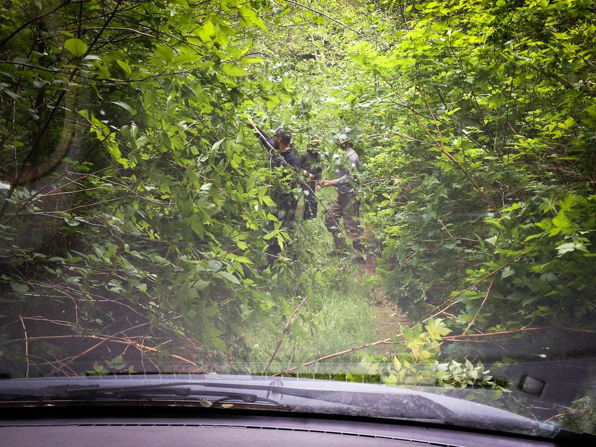 Road crew hard at work along Doobah Lake!