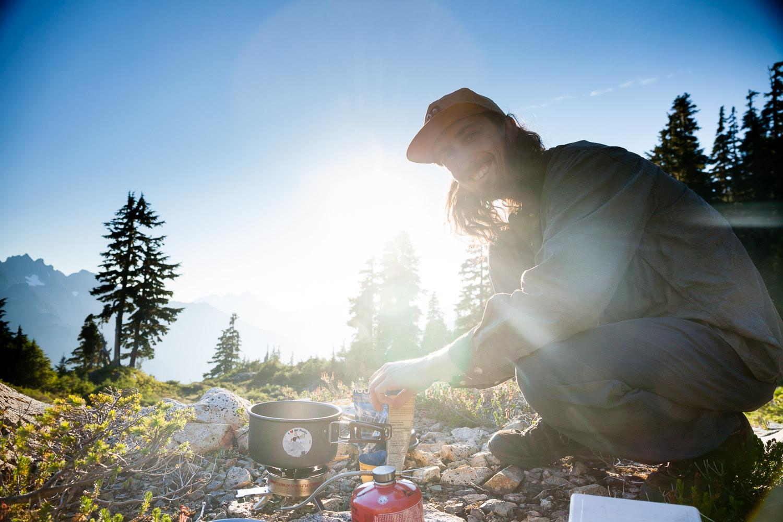 Cooking dinner near Cobalt Lake on the way to 50-40 Peak