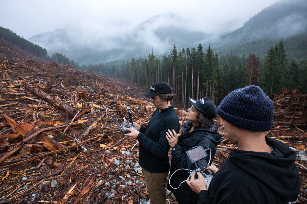 Nicholas de Pencier and Jennifer Baichwal filming in an old-growth forest clearcut on Edinburgh Mountain near Port Renfrew.