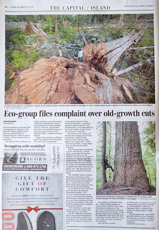 Article in the Victoria Times Colonist featuring two of my photographs.
