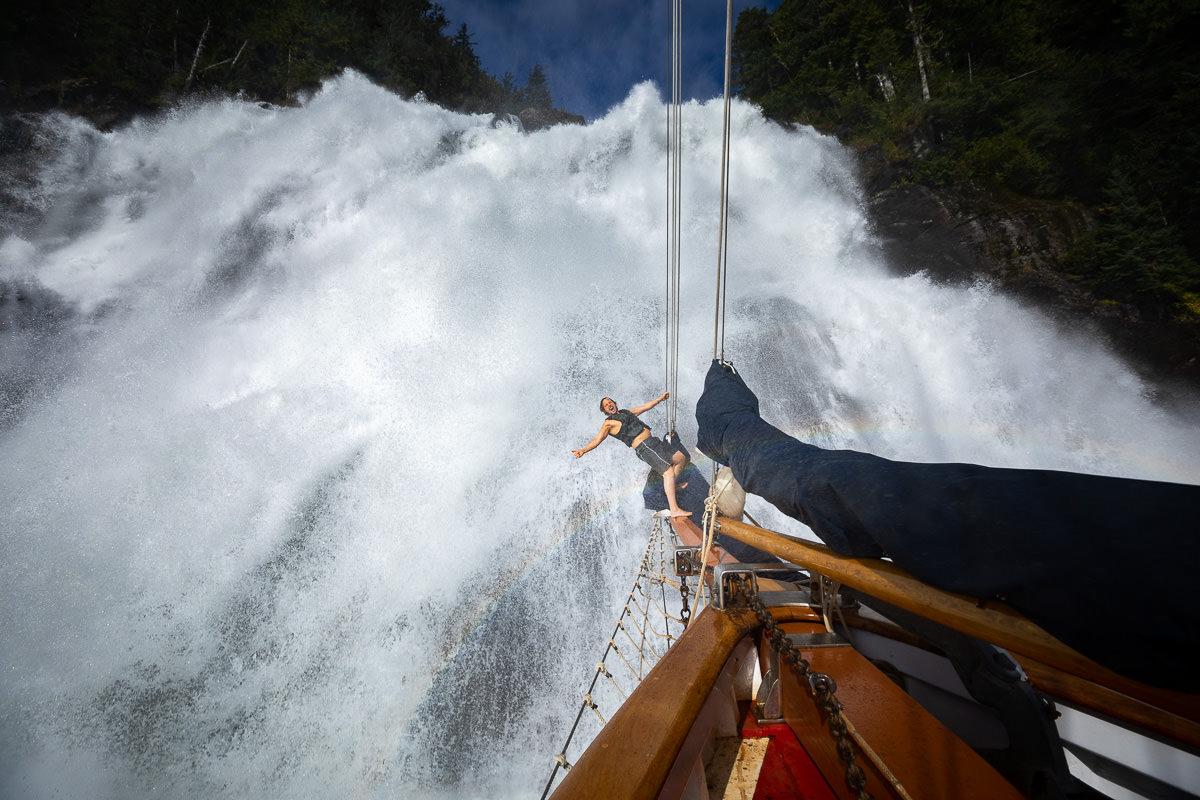 Tom having a wild waterfall shower!