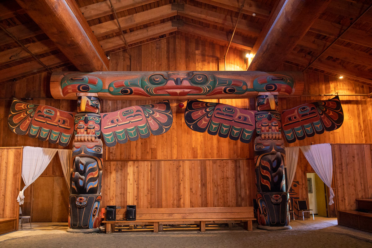 Incredible totems inside the bighouse in Klemtu. Such a powerful feeling inside this building!