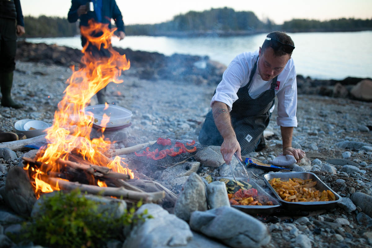 Dinner cooked on the beach