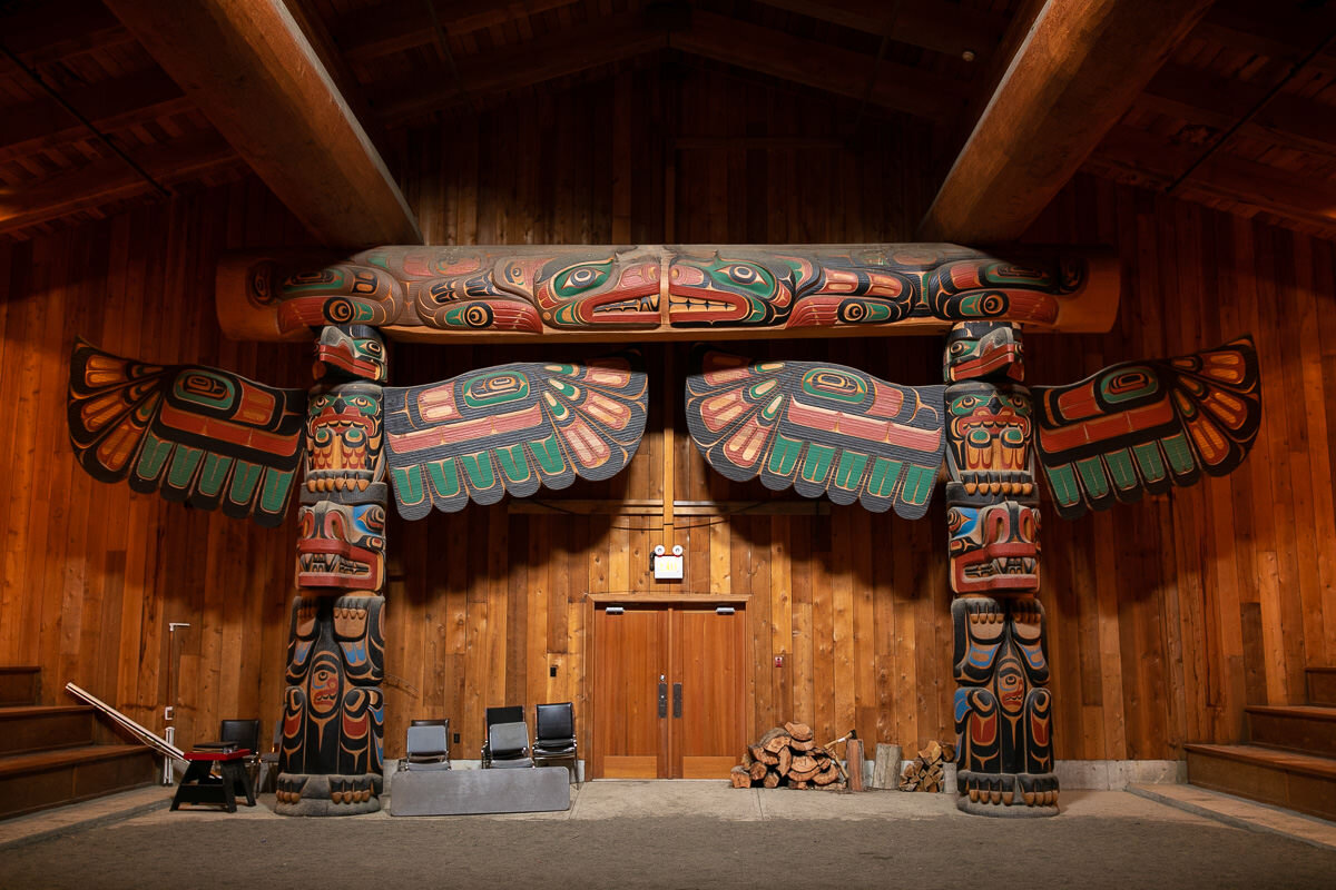 Totems in the longhouse in Klemtu - Kitasoo/Xai'xais Territory