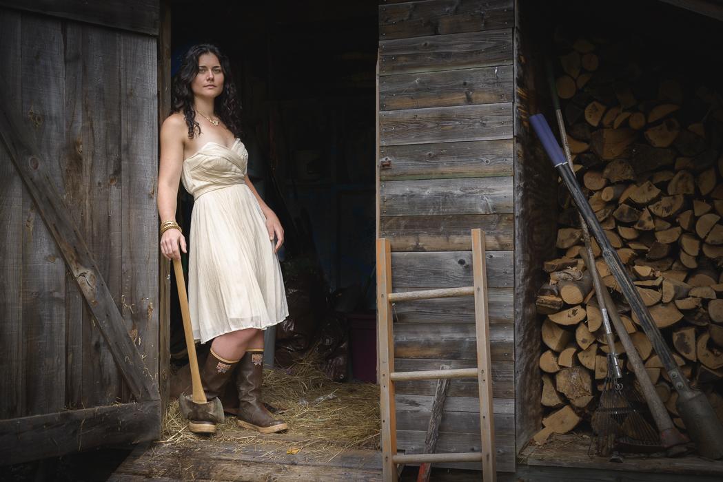 Sally Manikian at the wood shed