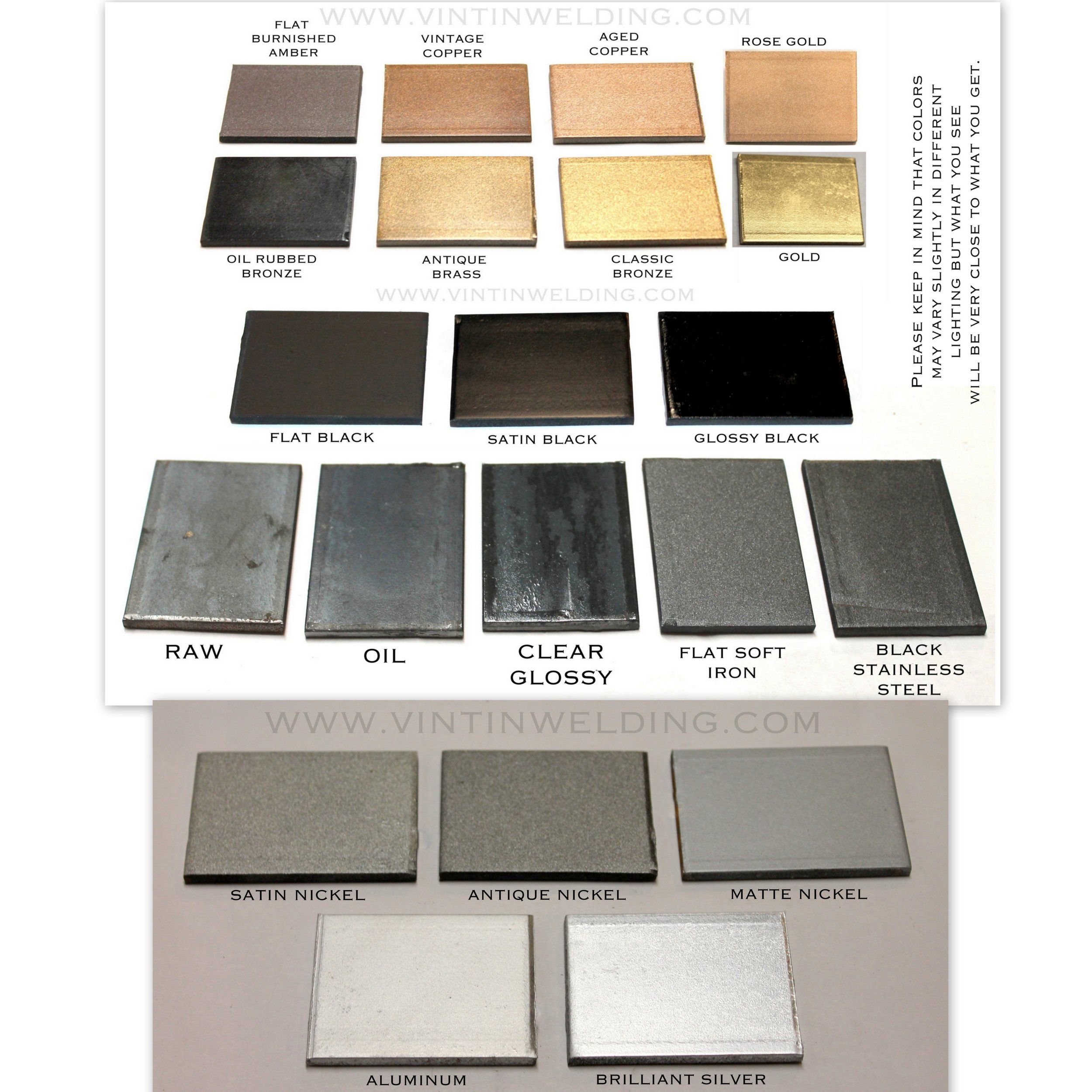 VinTin Welding finish sample chart