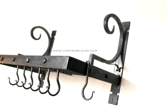 wide model wrought iron Hand forged iron and copper ladle pot rack