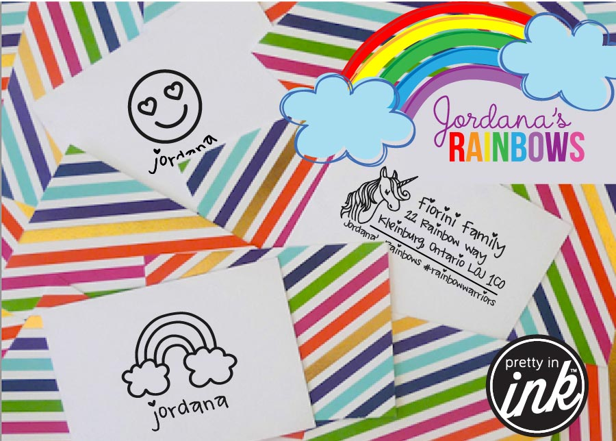 SHOP OUR JORDANA'S RAINBOW STAMP COLLECTION - 50% of net-proceeds kindly donated to Jordana Fiorini's DIPG research at SickKids Foundation in Toronto.