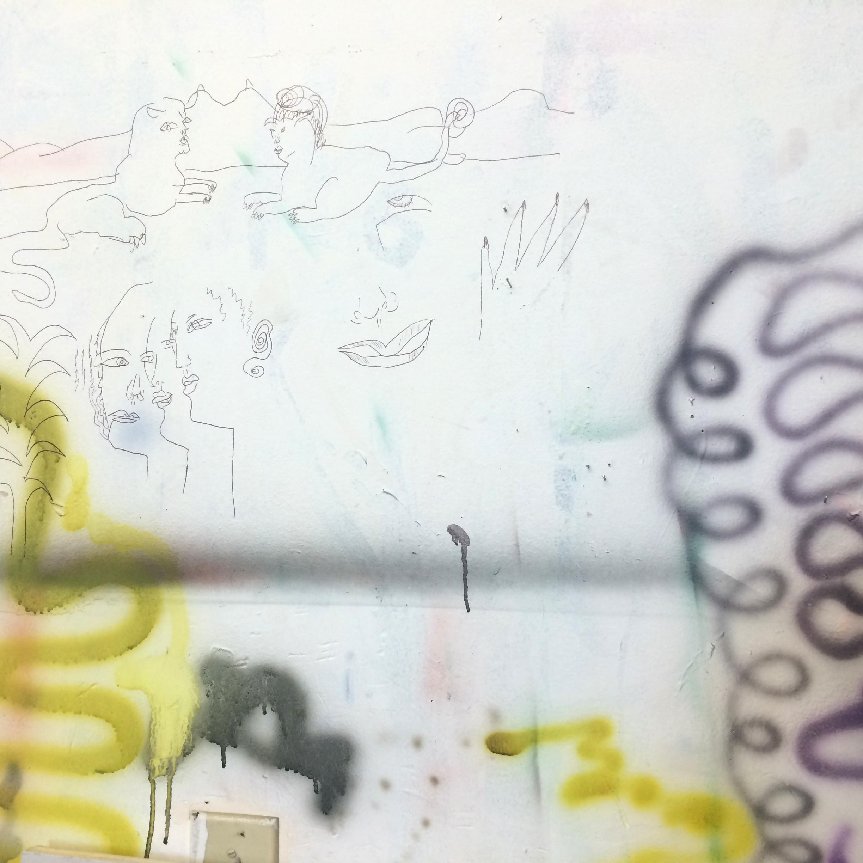 A wall in Daniel's studio