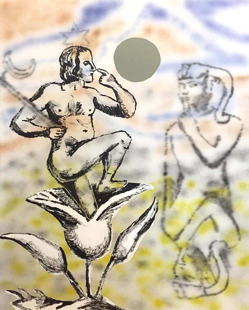 Daniel Long,  The Hair Stood up on My Arm , 2015, acrylic and Flashe on panel, 48 x 36″