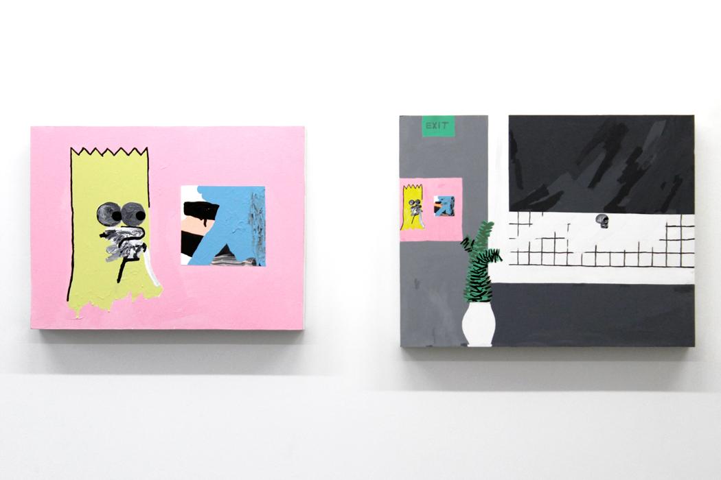 """Bart Museum, Part I , 2015, acrylic on wood, 19.5 x 26"""" //  Bart Museum, Part II , 2013, acrylic on wood, 22 x 28"""""""