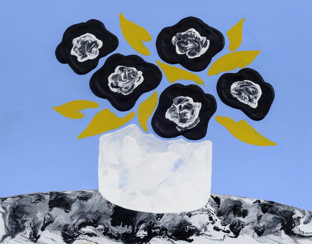 "Lora Baize, Standing Alone, 2016,acrylic and enamel on panel,11 x 14"""
