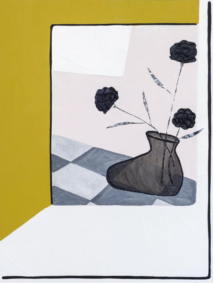 "Lora Baize,  You Saw Me ,2016,acrylic and enamel on panel,23 3/4 x 18"""