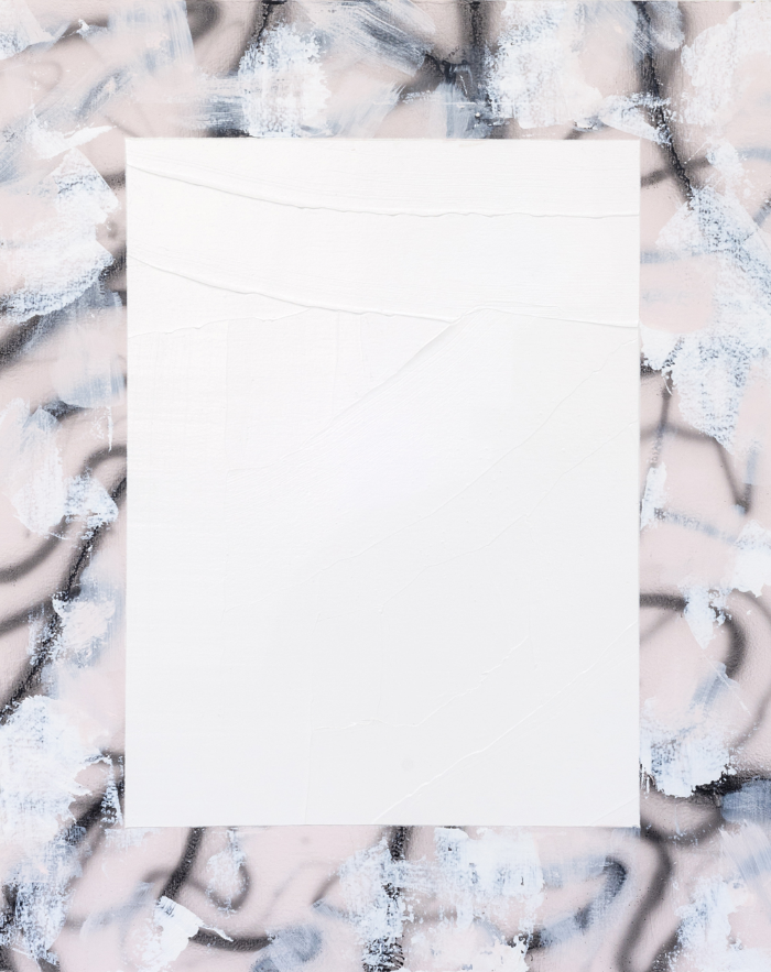 "Lora Baize, Blue Moon ,  2016,acrylic and enamel on panel,20 x 16"""