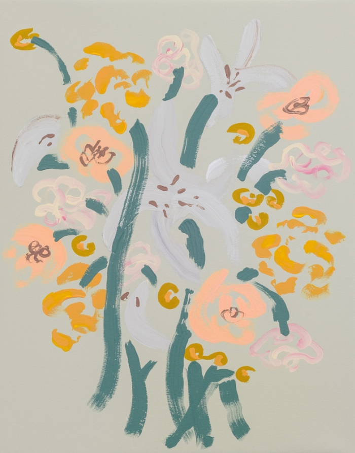 "Annie McLaughlin, Carnations, Marigolds, Lilies, Peonies ,2016, gouache on paper,14 x 11"""