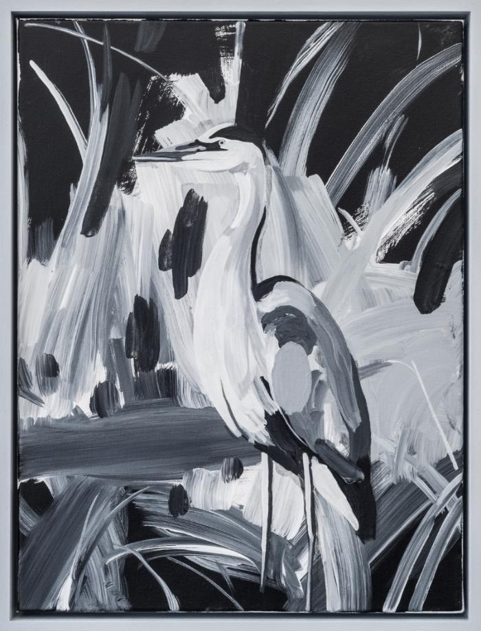 """The Clairvoyant (Blue Heron) ,2016 , acrylic on canvas,16 x 12"""""""