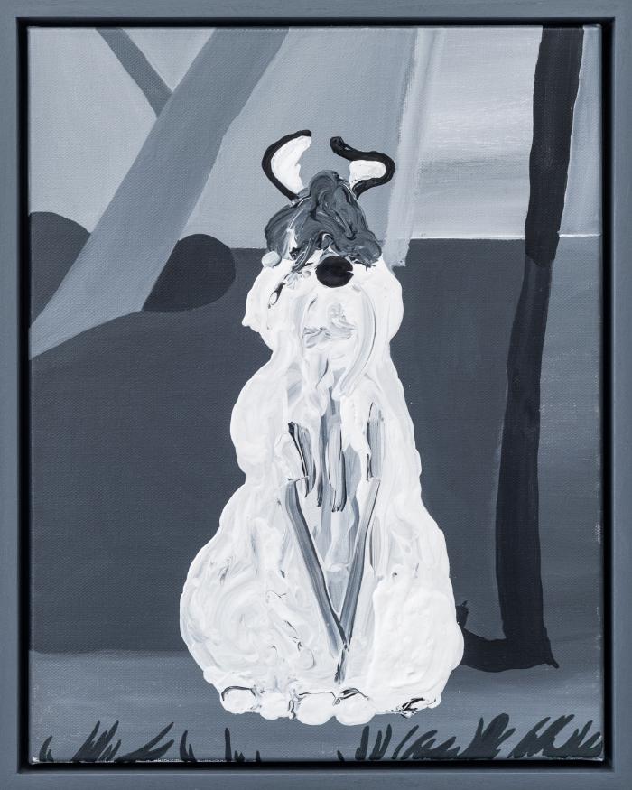 """Clocked In (Sam Sheepdog) , 2016, acrylic on canvas, 14 x 11"""""""