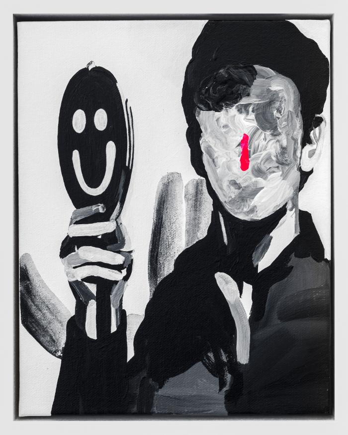 """La Buffoon , 2016, acrylic on canvas, 10 x 8"""""""