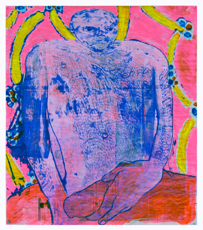 "Kyle , 2016, monotype, silkscreen, and acrylic on newsprint, 26 x 22.5"""