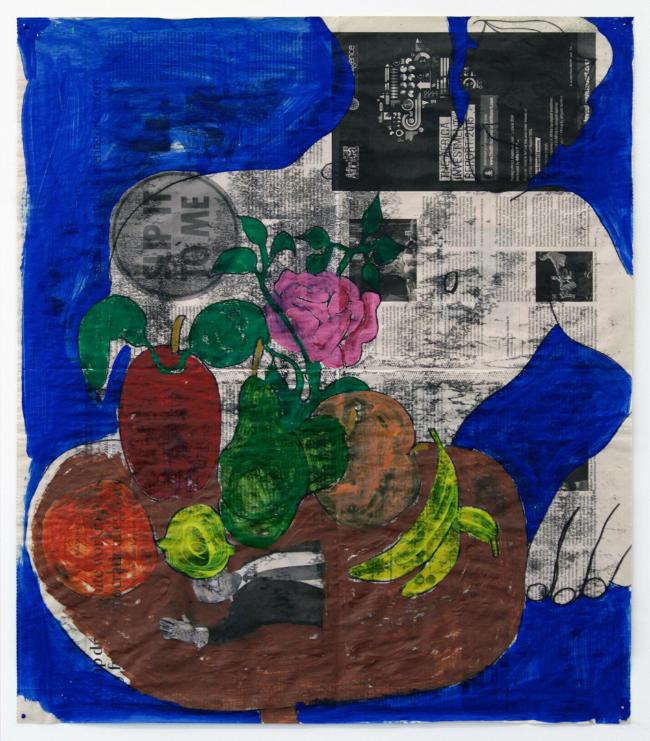 "Slip It to Me , 2016, monotype and acrylic on newsprint, 26 x 22.5"""