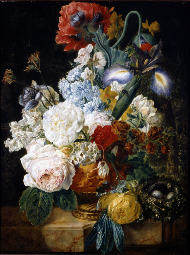 Wybrand Hendriks, Flower Still Life , 1810/1830, oil on panel, Portland Art Museum Collection