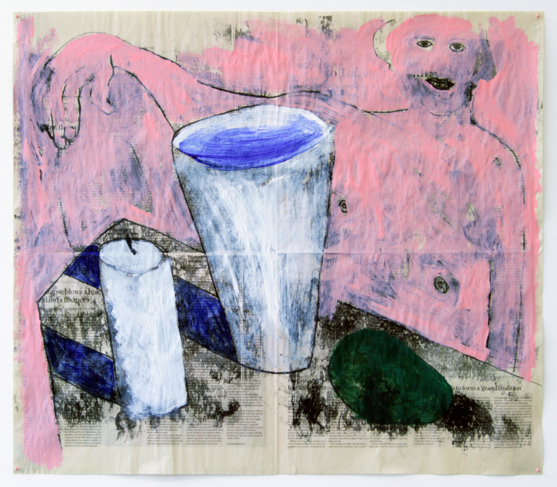 """Untitled (Pink Man with Avocado Offering) , 2016, monotype and acrylic on newsprint, 22.5 x 26"""""""