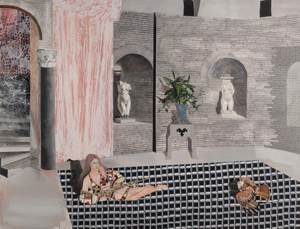 Elizabeth Malaska, No Man's Land ,2016, oil, Flashe, spray paint, and pencil on canvas
