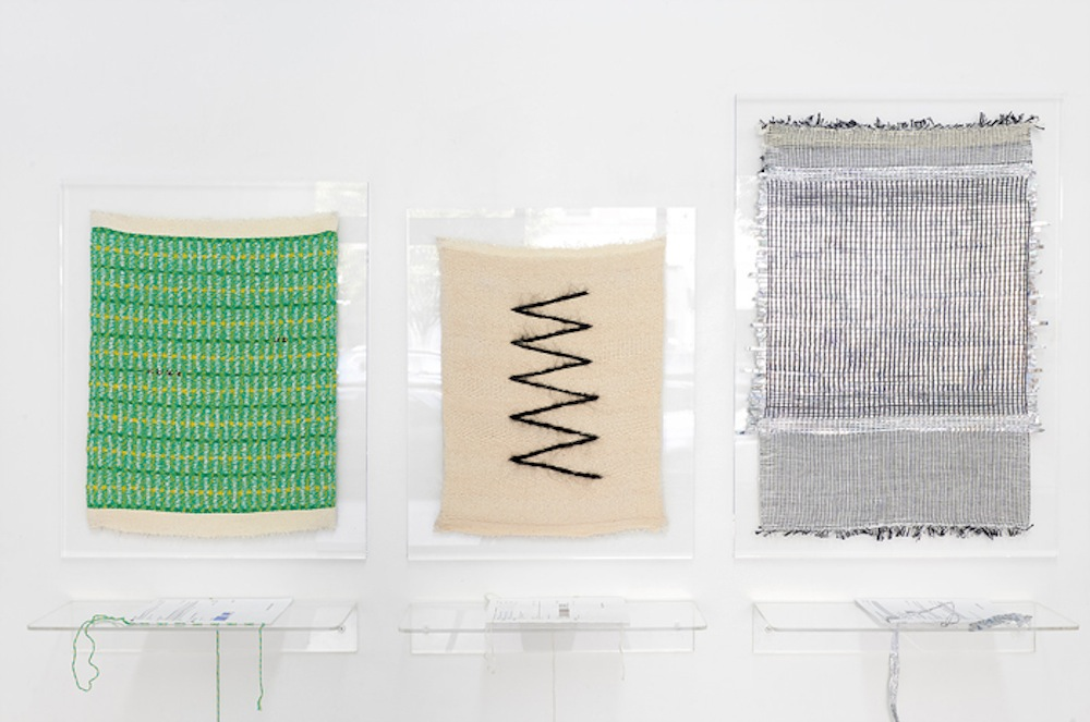 Francesca Capone's weavings on display in  Writing in Threads
