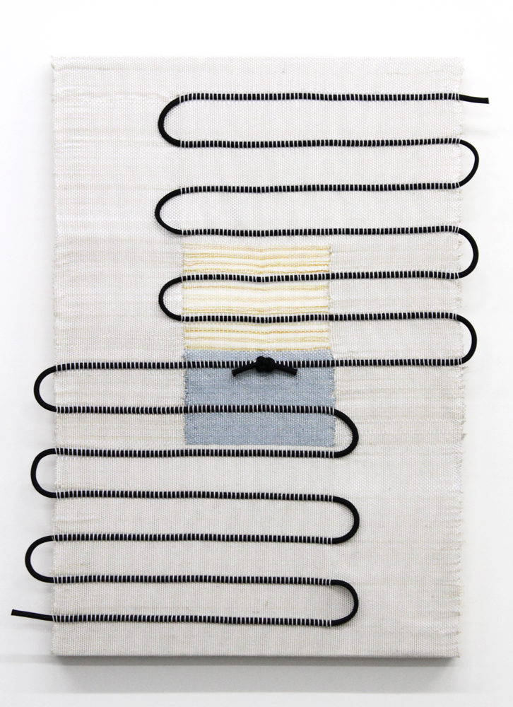 Francesca Capone,  There's a knot where I was picked pure  (KM), 2017, cotton, metallic thread, reflective thread, and polyester rope on wood, 36 x 24""