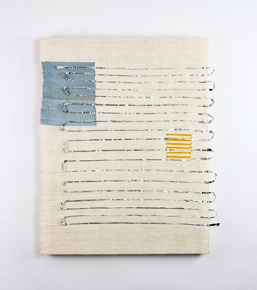 Francesca Capone,  I'm trying to tell you something about how rearranging words rearranges the universe  (MH), 2016, cotton, reflective thread, and Mylar on wood, 24 x 18""