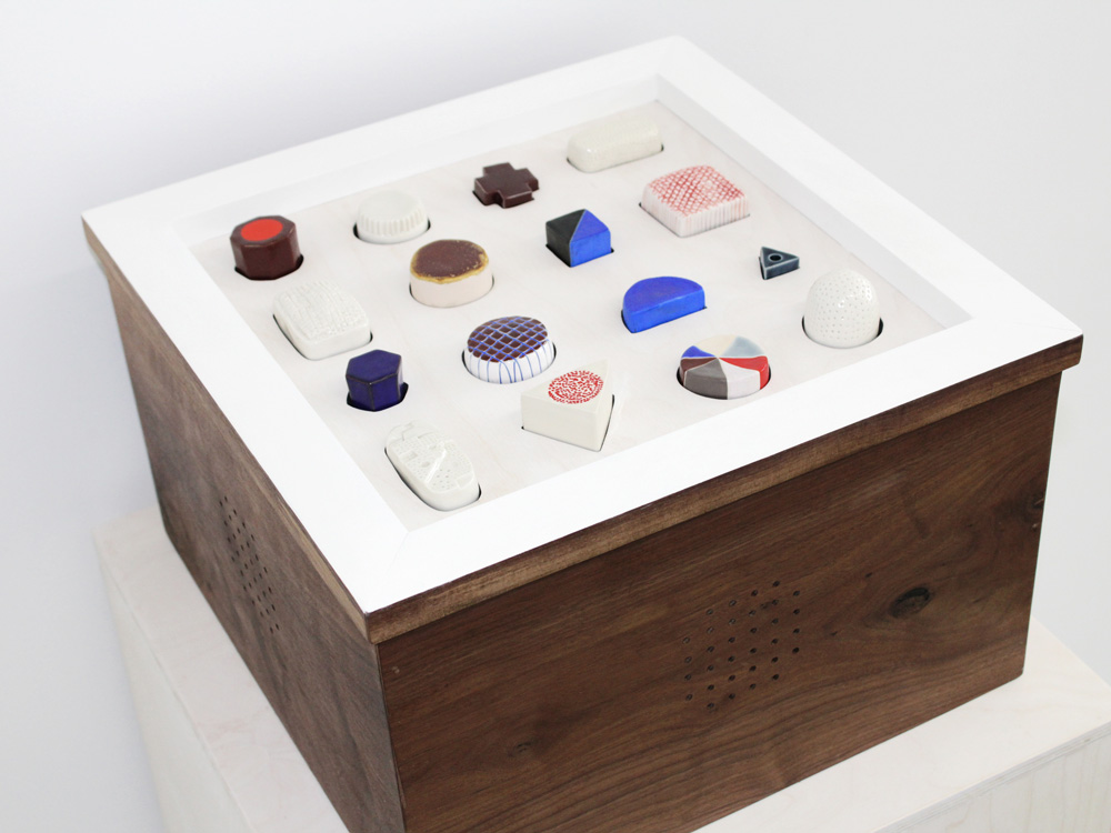 """Apollo 2017 In collaboration with Andy Meyers (programming, circuitry, and sound) and Matthew Kenall (modular synthezier/sound) Stoneware, porcelain, walnut wood, and electronic components 9.5 (h) x 15 x 15"""""""