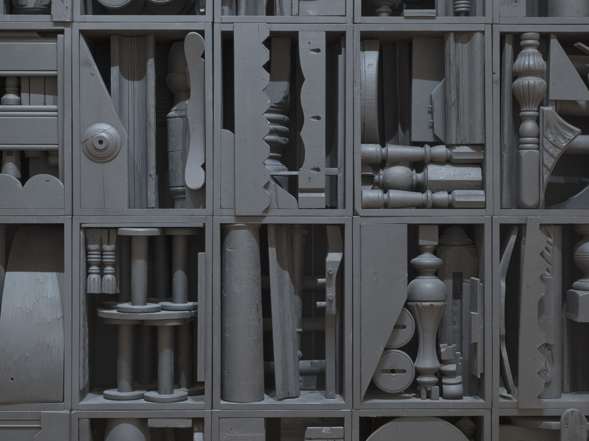 "Louise Nevelson,  Big Black , 1963, painted wood, 9' 1/4"" x 10' 5 3/4"" x 12"", photo: MoMA NY"
