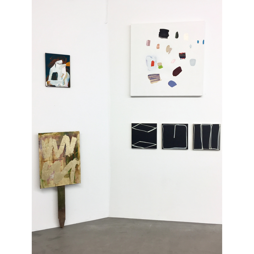 Flesh of My Flesh  by Amy Bernstein surrounded by Hanna Andersson's paintings and Jakob Ojanen's sign. Image ©Jakob Ojanen