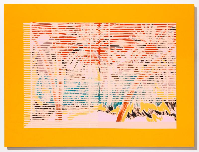 "50% Visibility, 100% Shangri-La  2017 Acrylic, gouache, and Flashe on panel 30 x 40"""