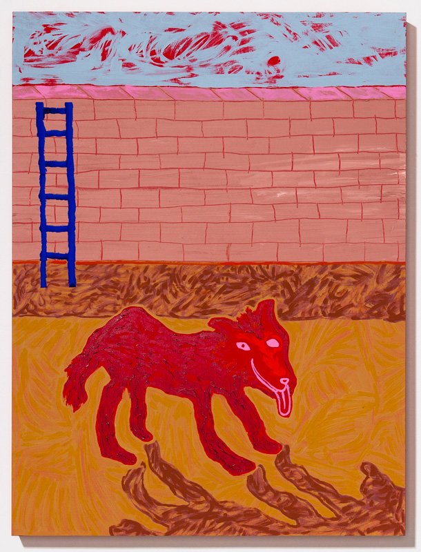 """Coyote in Quinacridone (It Was Then I Picked up the Mythical Joni Mitchell Herself)  2017 Acrylic, gouache, and Flashe on panel 24 x 18"""""""
