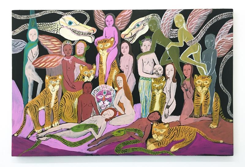 "Arrington de Dionyso, Untitled II ,2017, acrylic on panel, 31.75 x 48"""