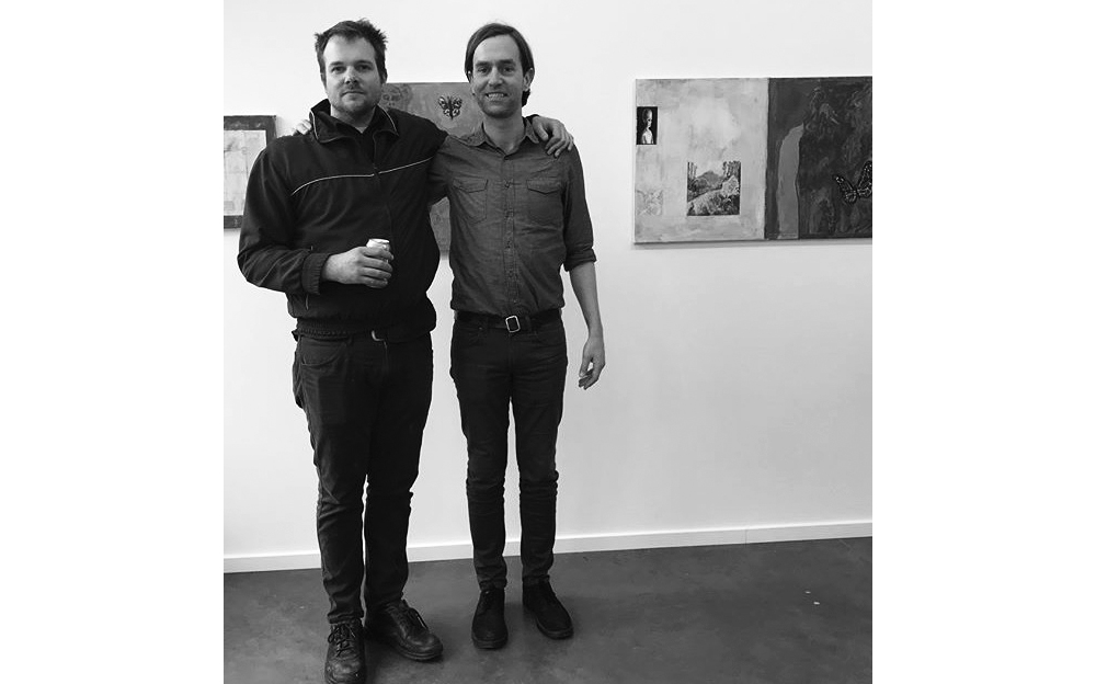 Painter Jake Manning and co-curator Paul Maziar during the reception for  Guests of Space