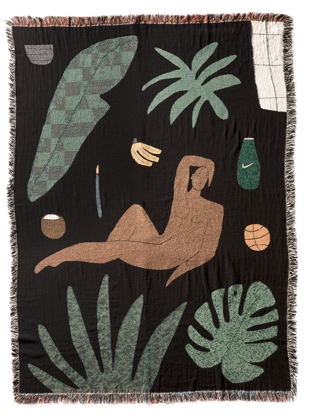 Tropical Shadows , woven blanket 71 x 53 inches.